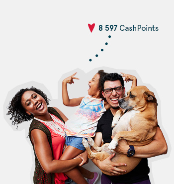 Image of a family with a dog earning CashPoints